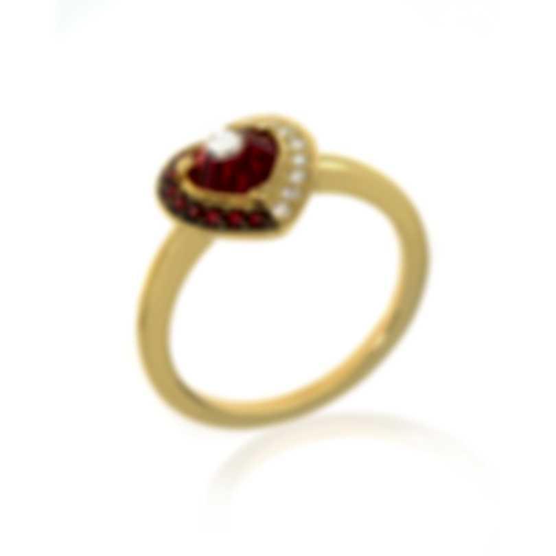 Swarovski Black Baroque Gold Tone Czech Crystal Ring Sz 7.25 5489126
