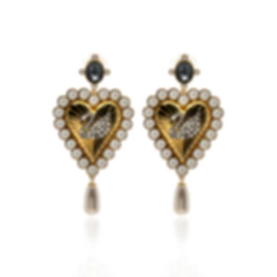 Swarovski Vintage Swan Gold Tone Dark Multi Colored Crystal Earrings 5489221