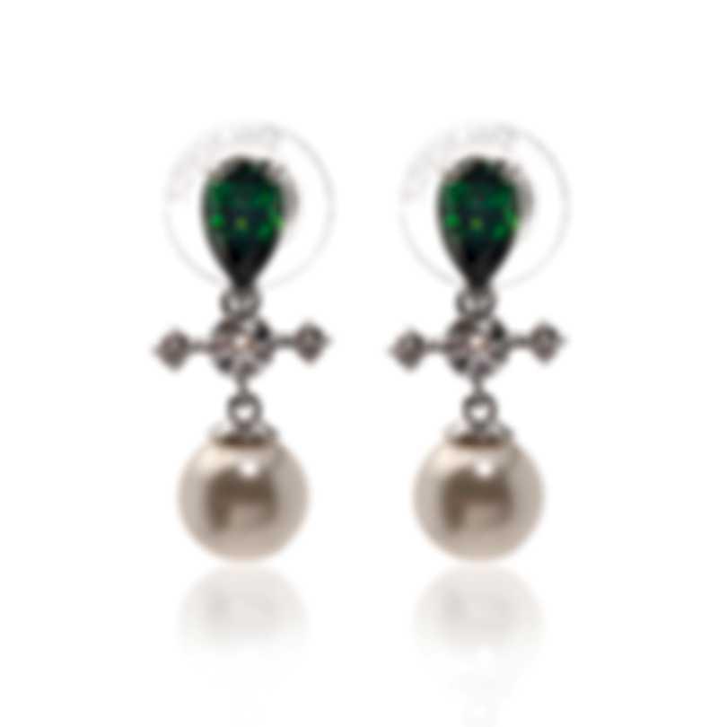 Swarovski Perfection Rhodium Plated Dark Multi Colored Crystal Earrings 5489440