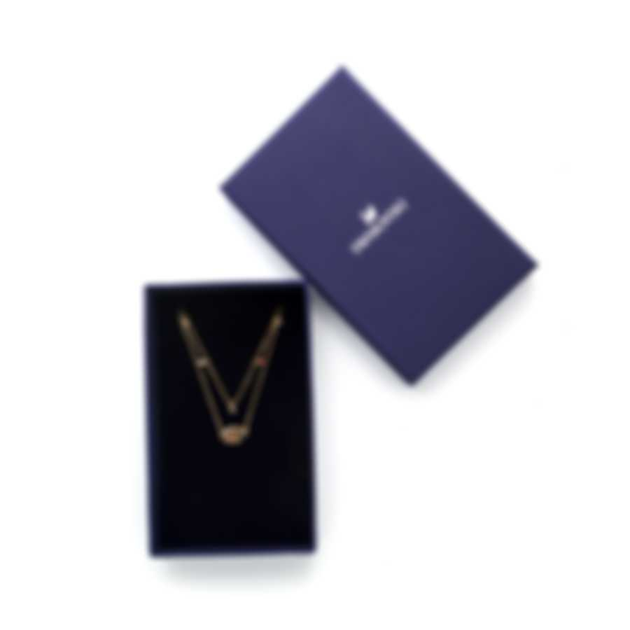 Swarovski New Love Gold Tone Dark Multi Colored Crystal Necklace 5483979