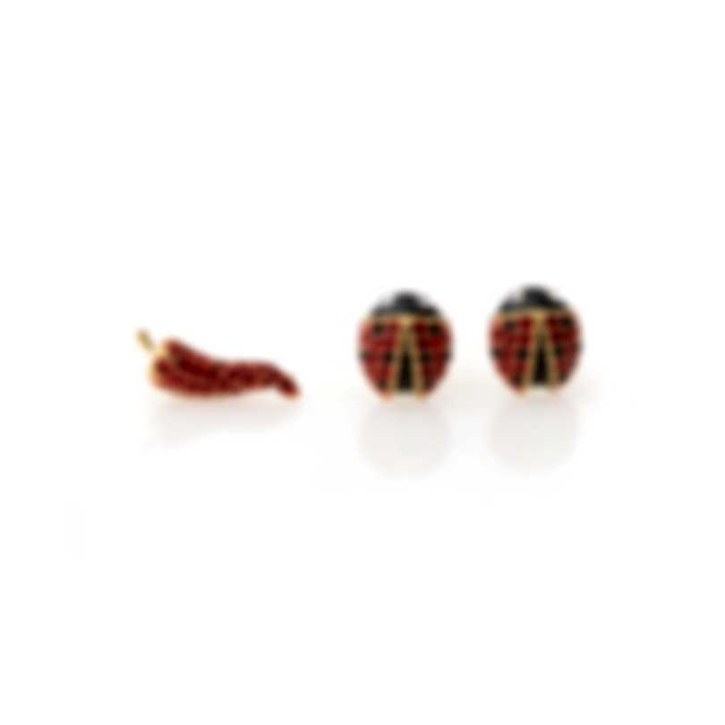 Swarovski Lisabel Gold Tone Dark Multi Colored Crystal Ladybug Earrings 5498791