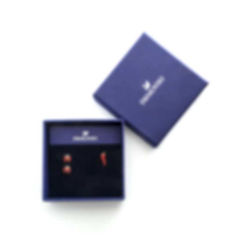 Swarovski Lisabel Gold Tone Dark Multi Colored Crystal Ladybug Earrings 5498791