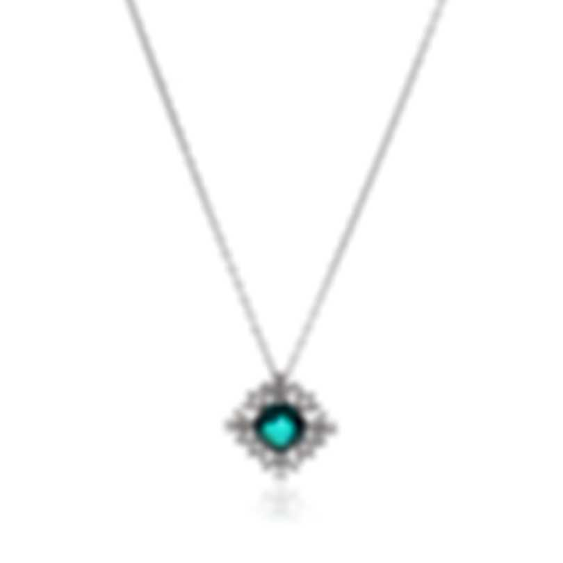 Swarovski Palace Rhodium Plated Czech White & Green Crystal Necklace 5498832