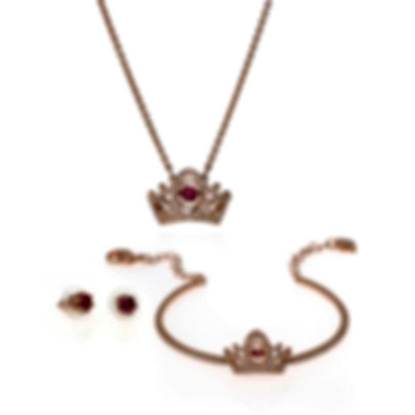 Swarovski Bee A Queen Crystal Gold Tone Necklace, Earrings Bracelet Set 5501075