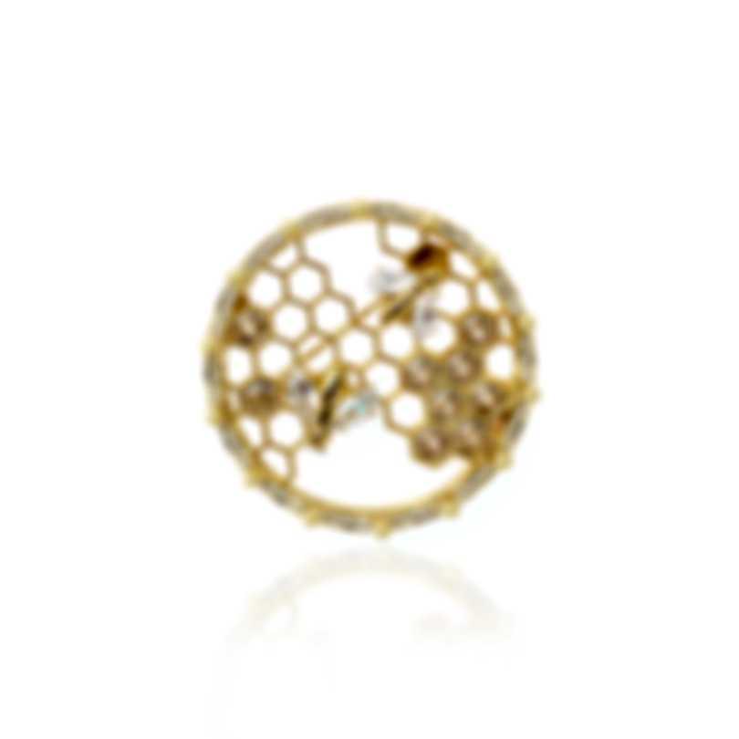 Swarovski Bee A Queen Gold Tone Czech White Crystal Brooch 5501079