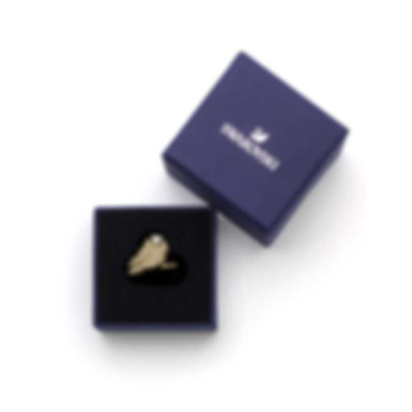 Swarovski Nice Gold Tone Czech White Crystal Ring Size 7.25 5515384