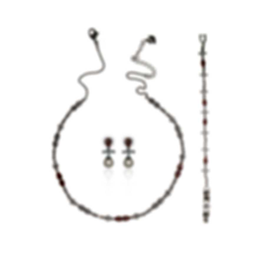Swarovski Perfection Rhodium & Crystal Necklace Earrings & Bracelet Set 5515515