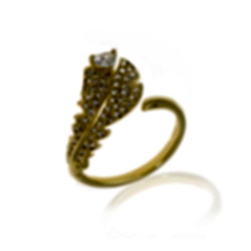Swarovski Nice Gold Tone Czech White Crystal Ring Size 6 5515757