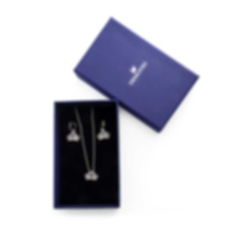 Swarovski Bee A Queen Rhodium Plated Crystal Necklace And Earring Set 5510988