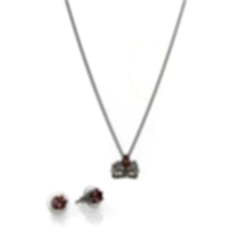 Swarovski Bee A Queen Rhodium Plated Crystal Necklace & Earring Set 5510989
