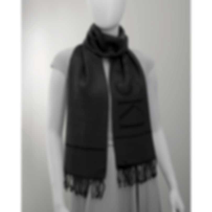 Swarovski Grey Vicose And Wool Logo Scarf 5529666