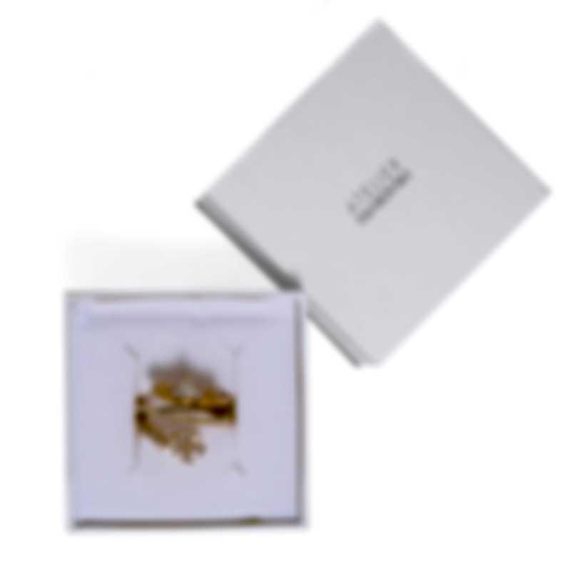 Swarovski Botanical Gold Tone And Czech White Crystal Ring Sz 7 5535797