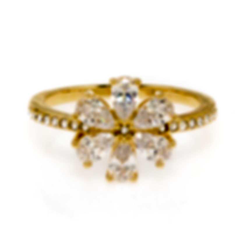 Swarovski Botanical Gold Tone And Czech White Crystal Ring Sz 6.75 5535798