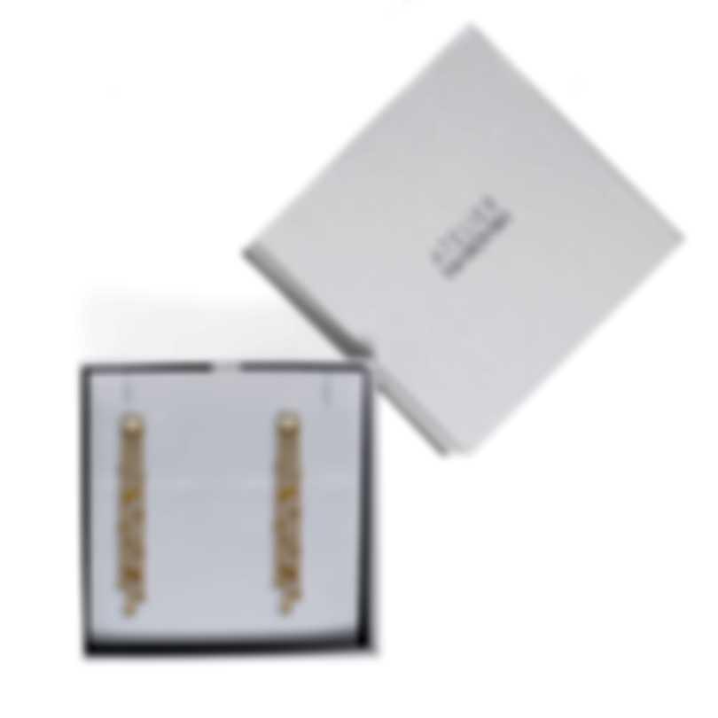 Swarovski Botanical Gold Tone And Czech White Crystal Earrings 5535791