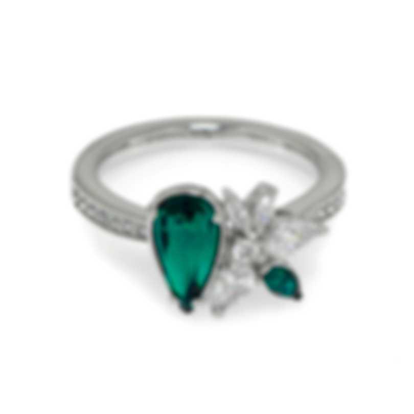 Swarovski Botanical Rhodium Plated And Emerald Crystal Ring Sz 7 5535820