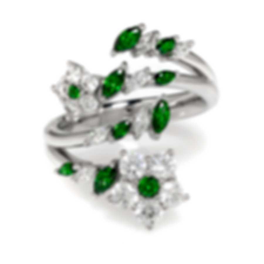 Swarovski Botanical Rhodium Plated And Emerald Crystal Ring Sz 6 5535841