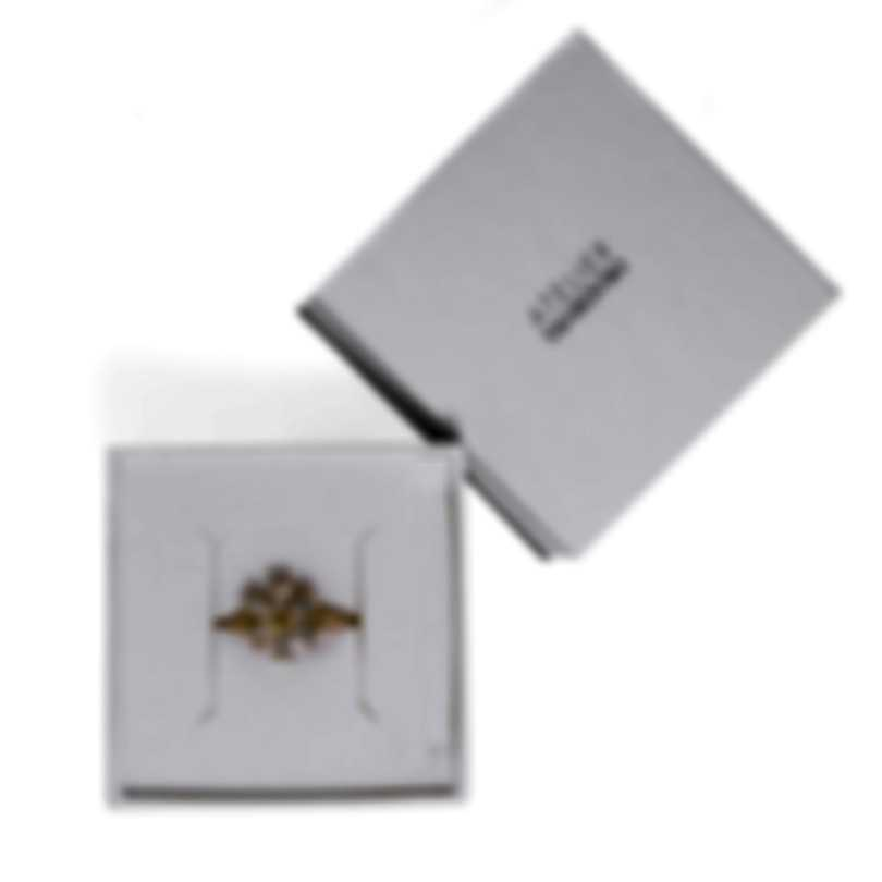 Swarovski Botanical Gold Tone And Czech White Crystal Ring Sz 5.75 5542531