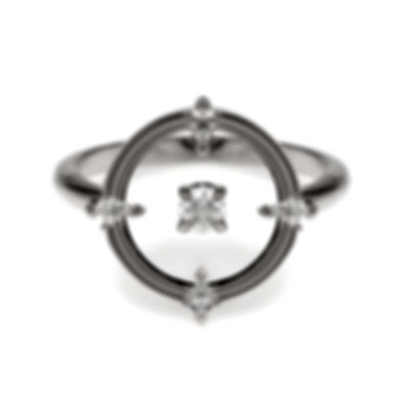 Swarovski North Rhodium Plated And Czech White Crystal Ring Sz 6.75 5551798