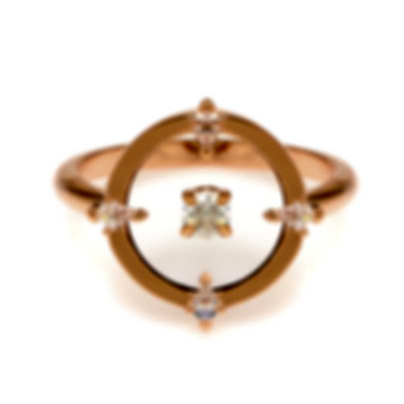 Swarovski North Rose Gold Tone And Czech White Crystal Ring Sz 7 5551801