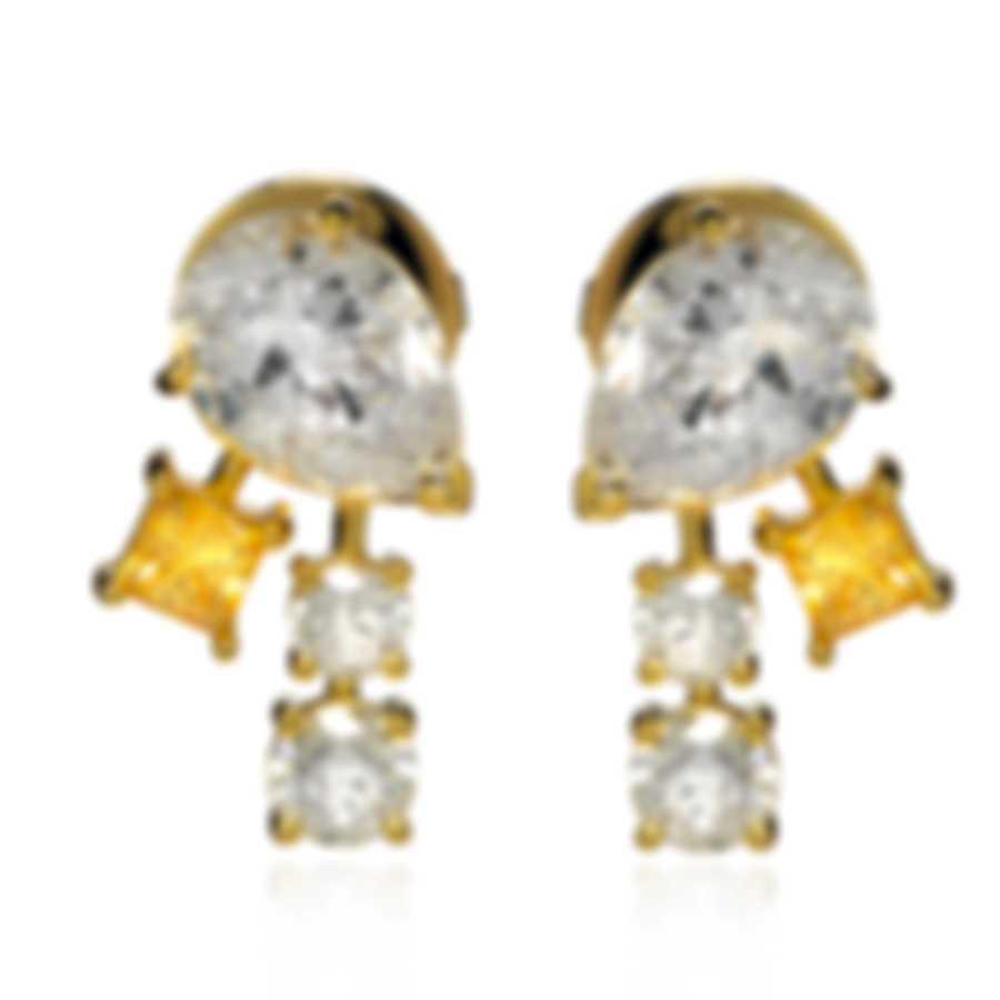 Swarovski Film PC Gold Tone And Czech White Crystal Earrings 5572835