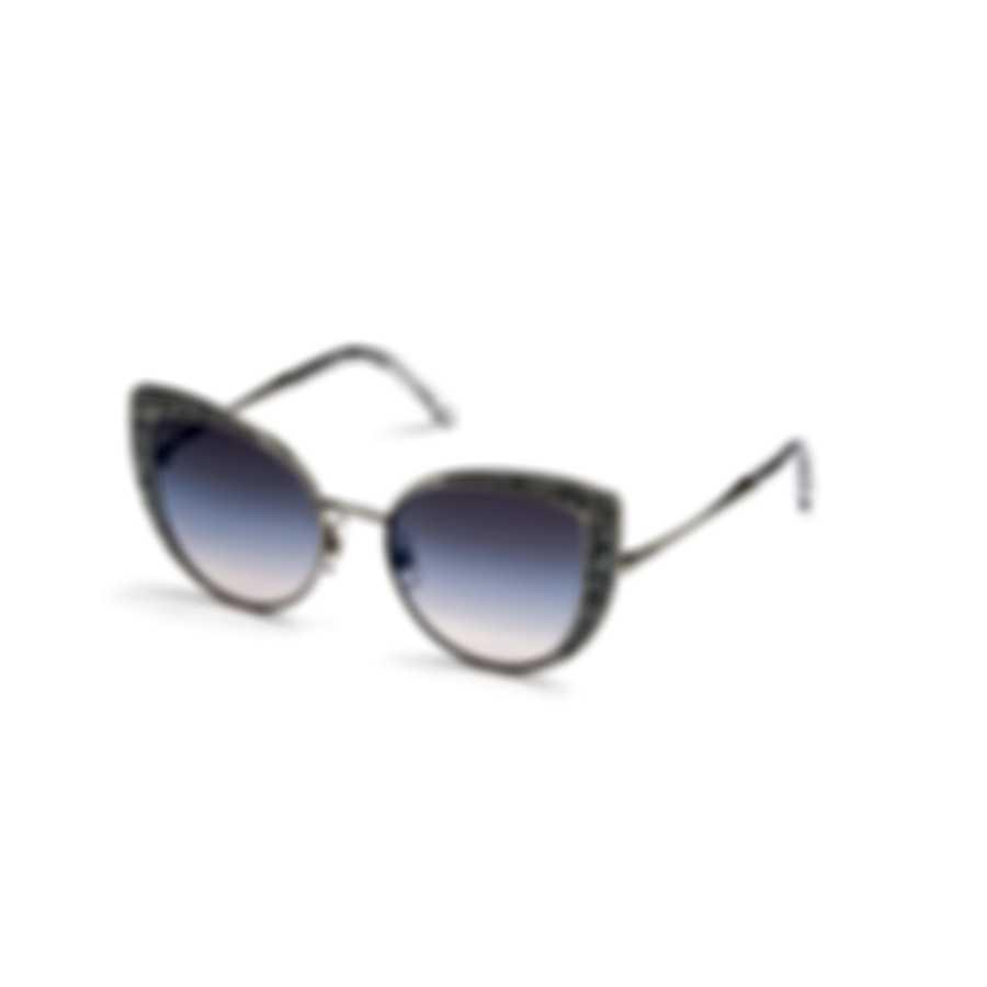 Swarovski Shiny Palladium & Gradient Purple Cat Sunglasses SK0282-5116Z