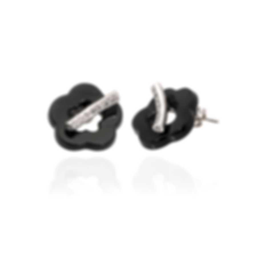Pasquale Bruni Make Love 18k White Gold Diamond 0.25ct And Onyx Earrings 15432B