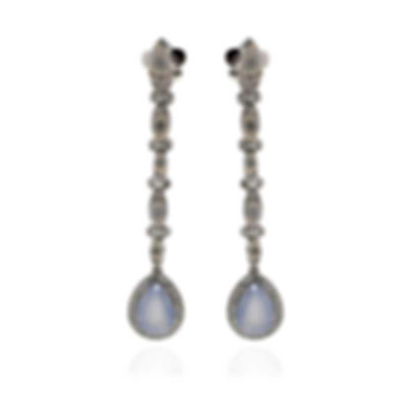 Pasquale Bruni Ghirlanda 18k White Gold Diamond 1.12ct And Adularia Earrings 15155B