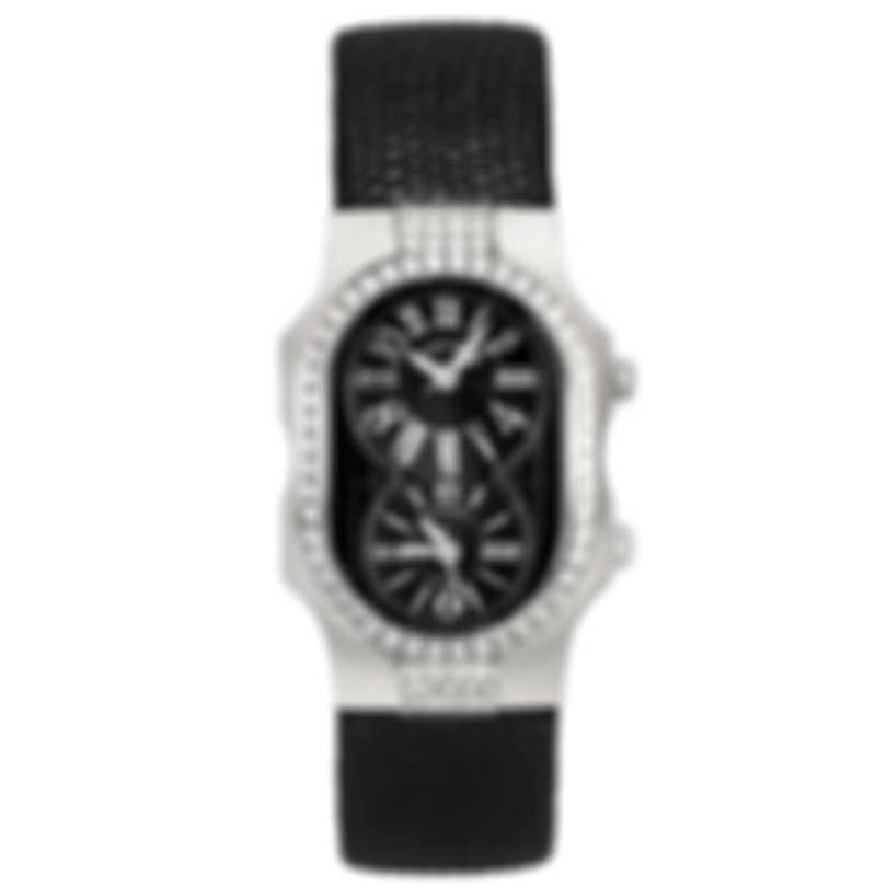 Philip Stein Signature Dual Time Zone  Quartz Ladies Watch 1DD-MB-CZB
