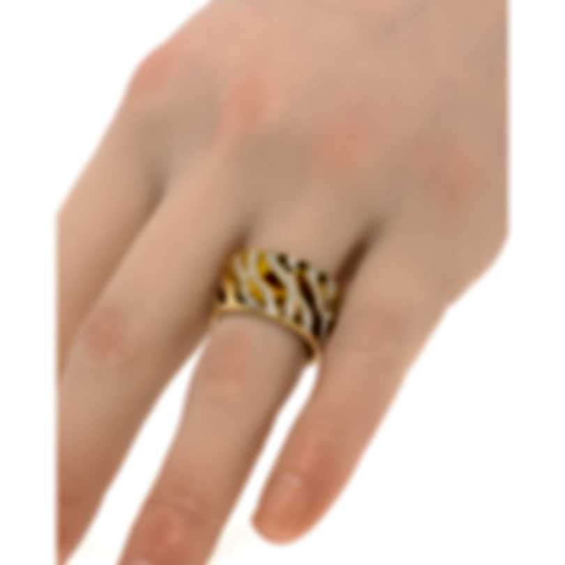Roberto Coin Tiger's Eye 18k Yellow Gold Diamond 0.7ct Ring Sz 6.5 211282AJ60TD