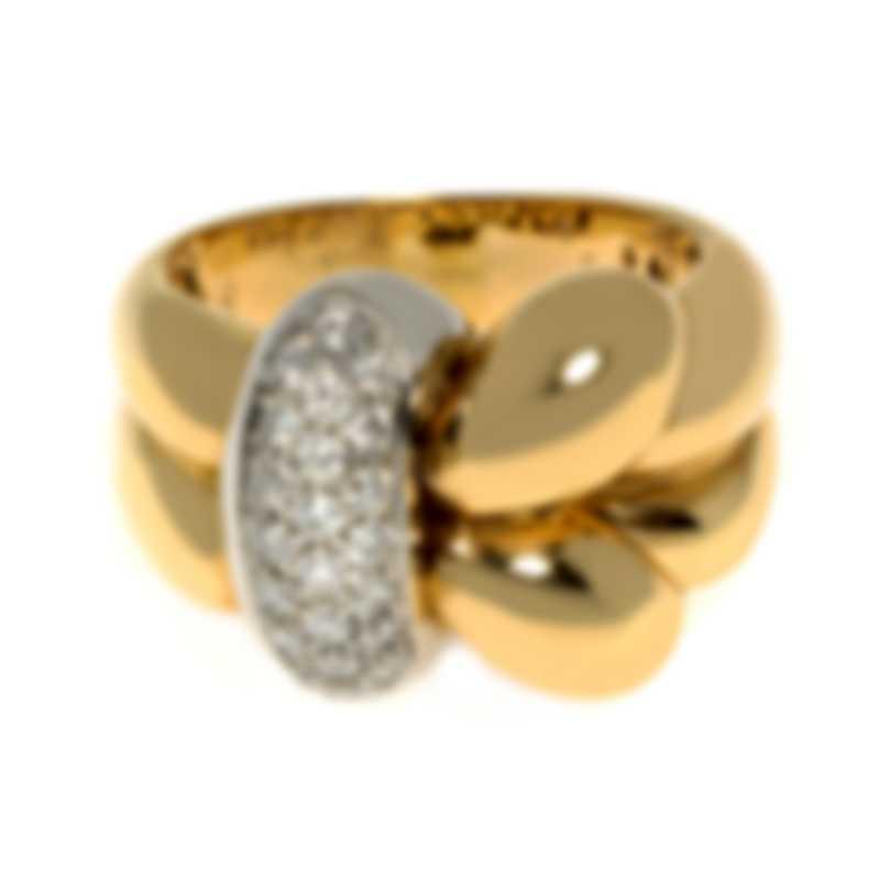 Roberto Coin Knot 18k Yellow White Gold Diamond 0.38ct Ring Sz 6.5 228522AJ65D0
