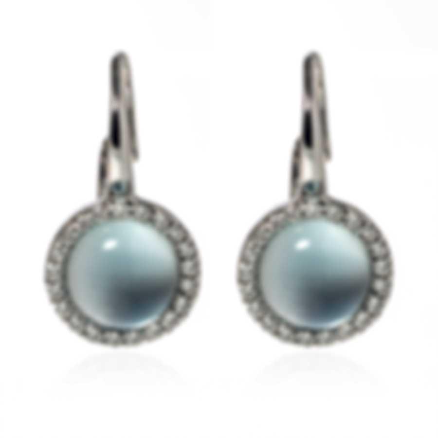 Roberto Coin Dia 18k White Gold Diamond 0.31ct Blue Topaz Earrings 4731034AWERX