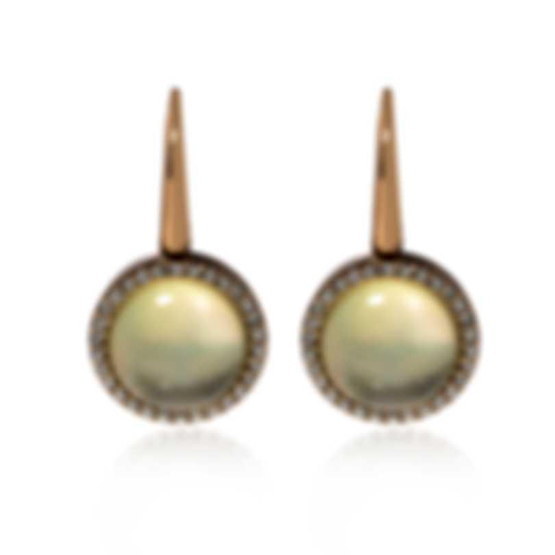 Roberto Coin 18k Rose Gold Diamond 0.53ct And Lemon Quartz Earrings 473499AXERLQ