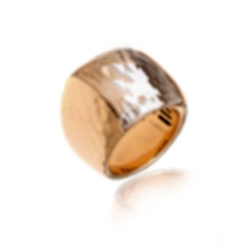Roberto Coin Martellato 18k Rose Gold And Rock Crystal Ring Sz 5.5 473420AX57J0