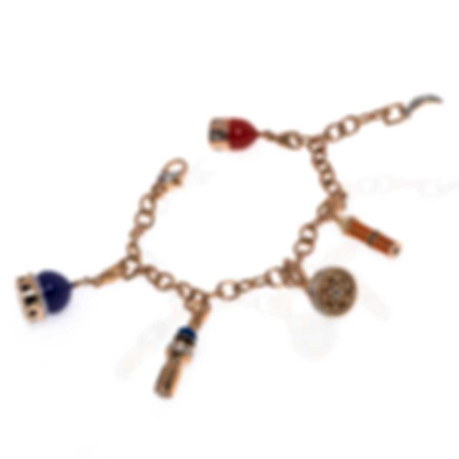 Roberto Coin 18k Rose Gold & 18k White Gold & Enamel Diamond 0.93ct Bracelet