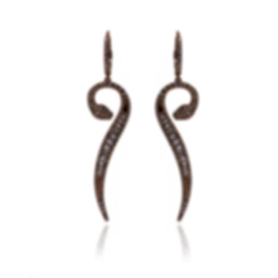 Roberto Coin Snake 18k Rose Gold Diamond 1.48ct Earrings 519089AXERX0