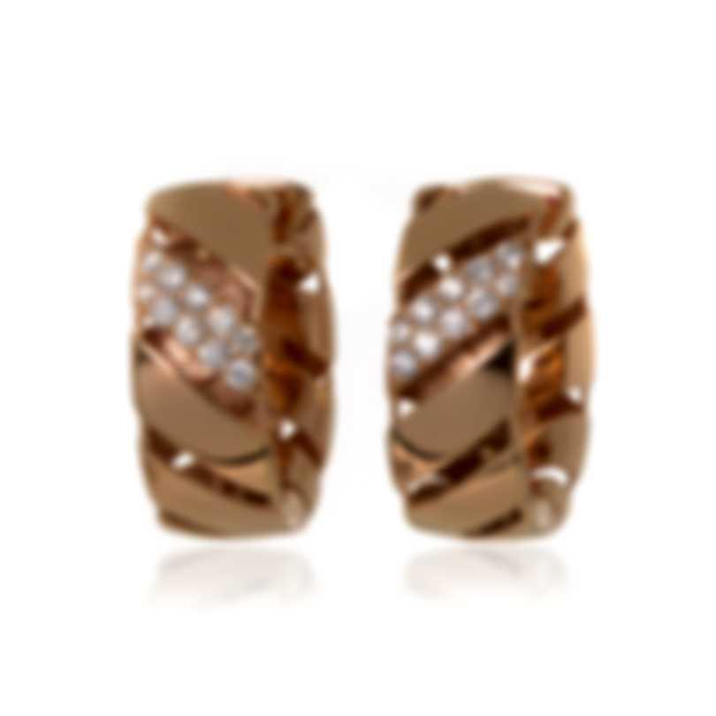 Roberto Coin Torchon 18k Rose & White Gold Diamond 0.27ct Earrings 7771406AXERX