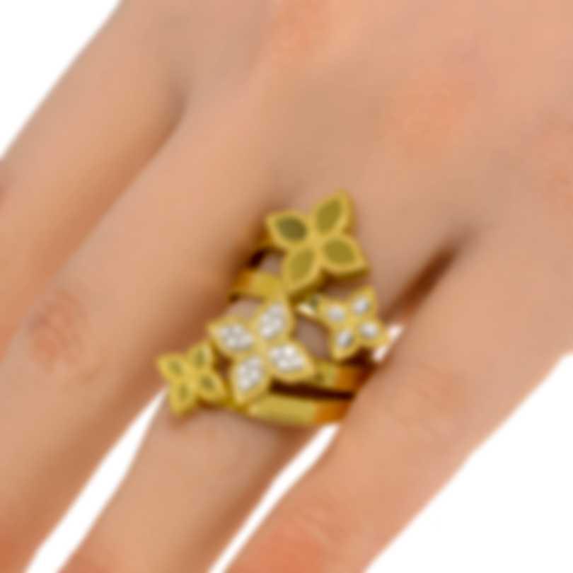Roberto Coin Princess Flower 18k Yellow & White Gold Diamond 0.22ct Ring Sz 7