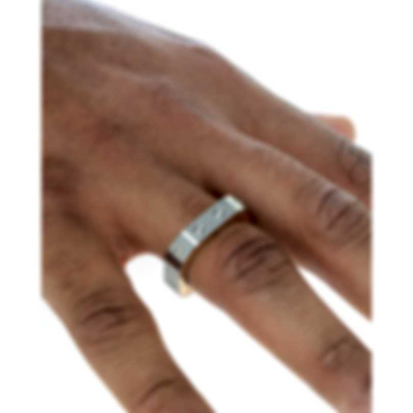 Roberto Coin Pois Moi Stainless Steel & 18k Rose Gold Ring Sz 11 7771524ASH115R
