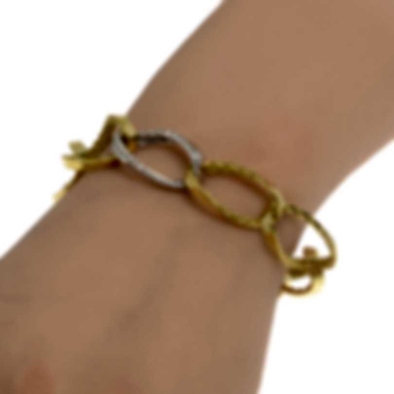 Roberto Coin Golden Gate 18k Yellow & White Gold Diamond Bracelet 7771548AJLBX