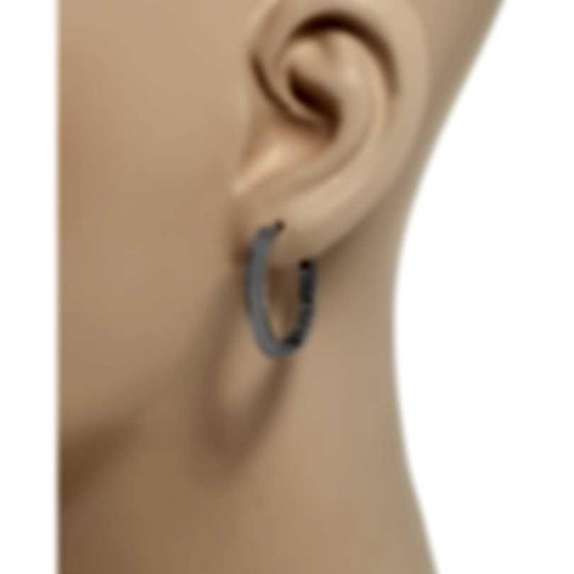 Roberto Coin Womens Princess 18k White Gold Hoop Earrings 7771590AWER0