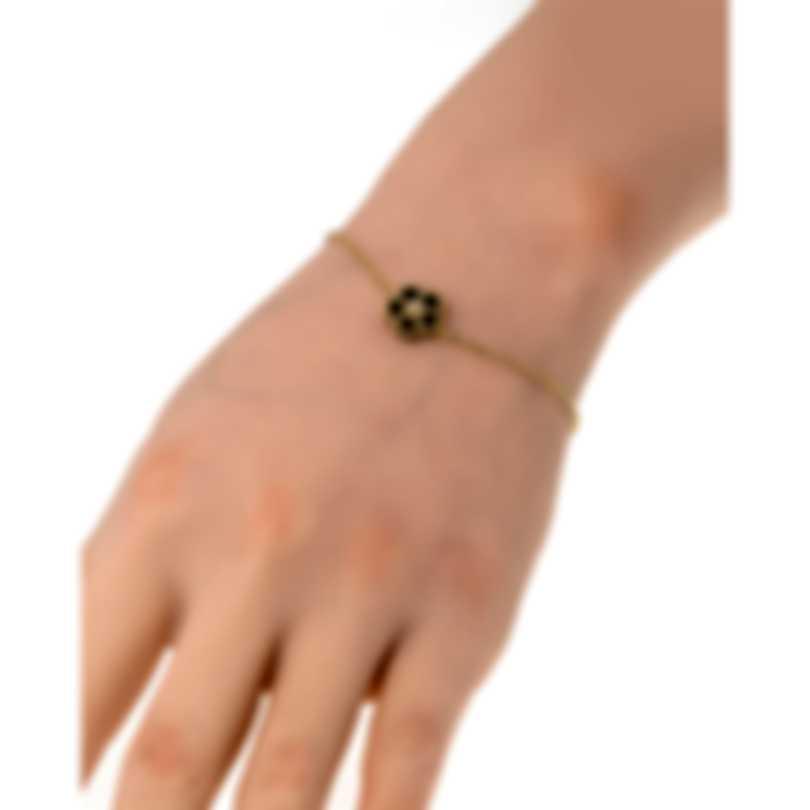 Roberto Coin Daisy 18k Yellow Gold Diamond 0.03ct & Onyx Bracelet 7772938AYLBX