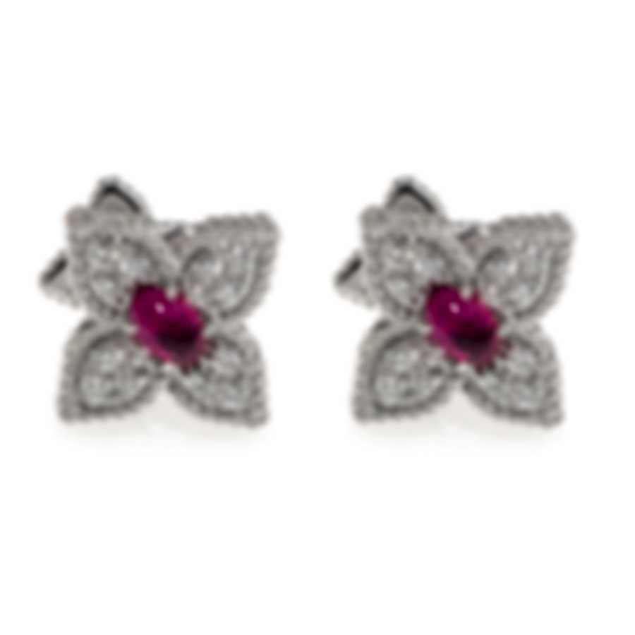 Roberto Coin Princess Flower 18k White Gold Diamond & Ruby Earrings 7772042AWERR