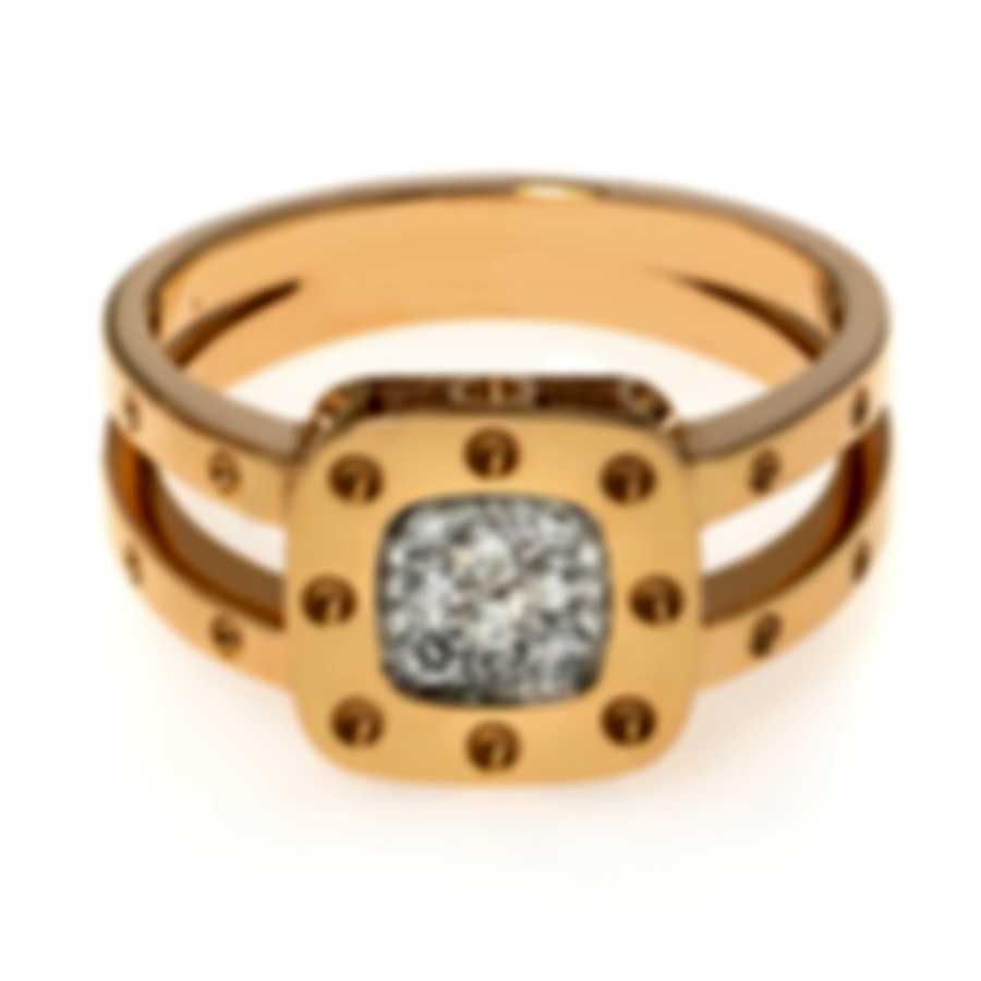 Roberto Coin Pois Moi 18k Rose Gold & 18k White Gold Diamond 0.11ct Ring Sz 6.5