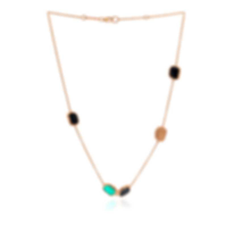 Roberto Coin 18k Rose Gold Diamond 0.12ct And Black Jade Necklace 8881907AXCHJX