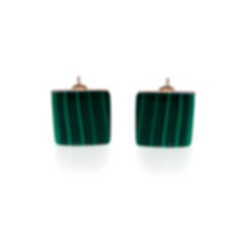 Roberto Coin Womens 18k Rose Gold And Malachite Earrings 8882430AXERM