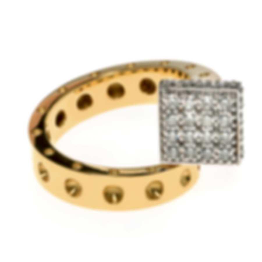 Roberto Coin Pois Moi 18k Yellow & White Gold Diamond Ring Sz 6.5 8882061AJ65X