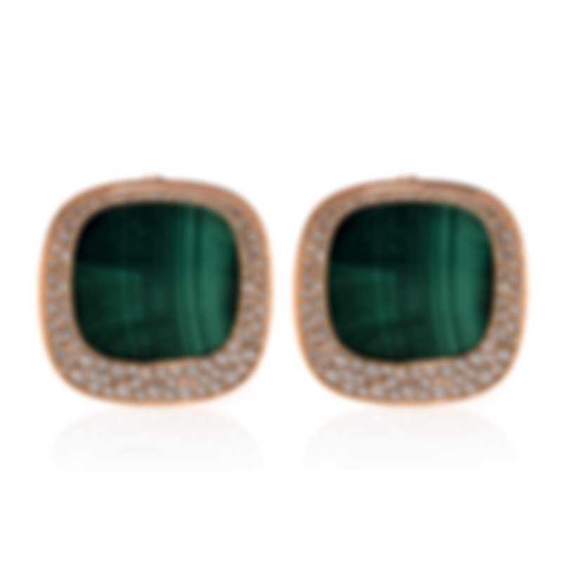 Roberto Coin Carnaby Street 18k Rose Gold Diamond 1.33ct & Malachite Earrings