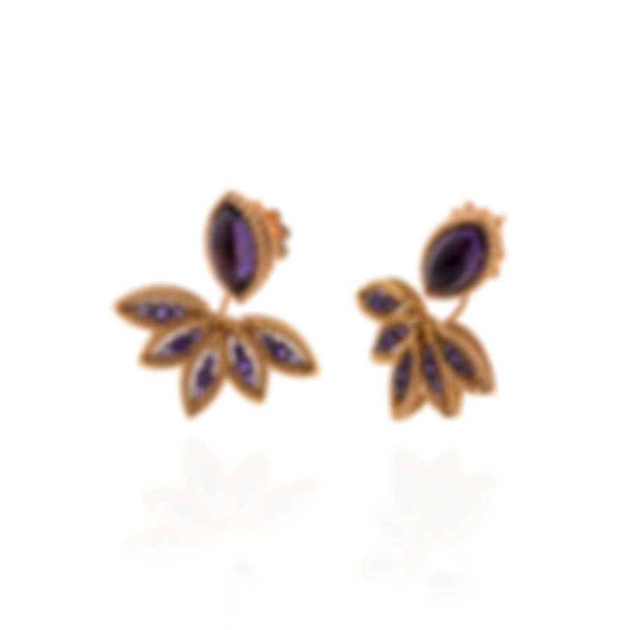 Roberto Coin Barocco 18k Rose And White Gold Amethyst Earrings 8882247AHERA