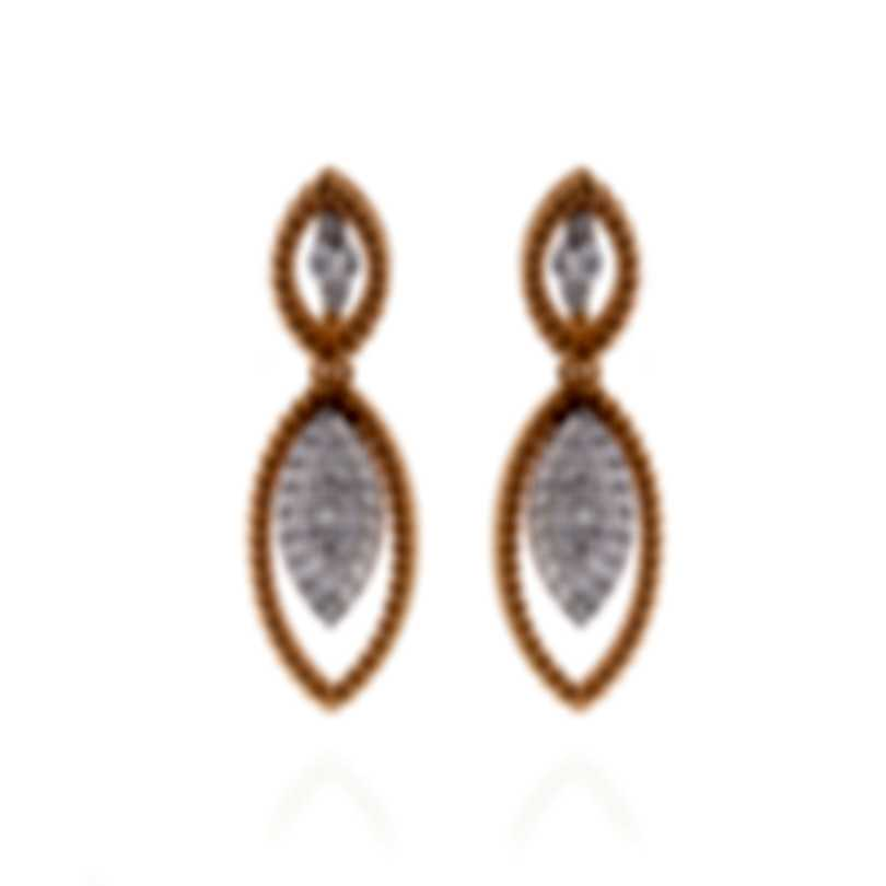 Roberto Coin New Barocco 18k Rose Gold Diamond 0.99ct Earrings 8882308AHERX