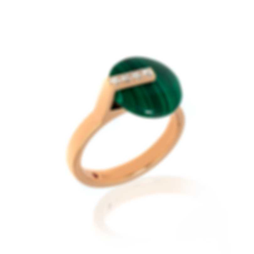 Roberto Coin Smartiesque 18k Rose Gold Diamond & Malachite Ring Sz 6.5 8882317AX65M